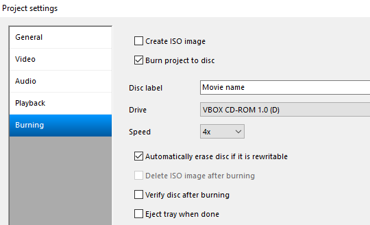 DVD Flick project settings burning tab