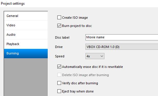 DVD Flick project settings burning tab