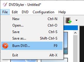 DVDStyler burn DVD menu entry