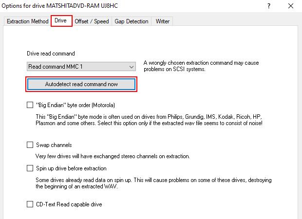 EAC drive settings