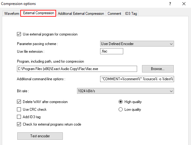EAC external compression settings