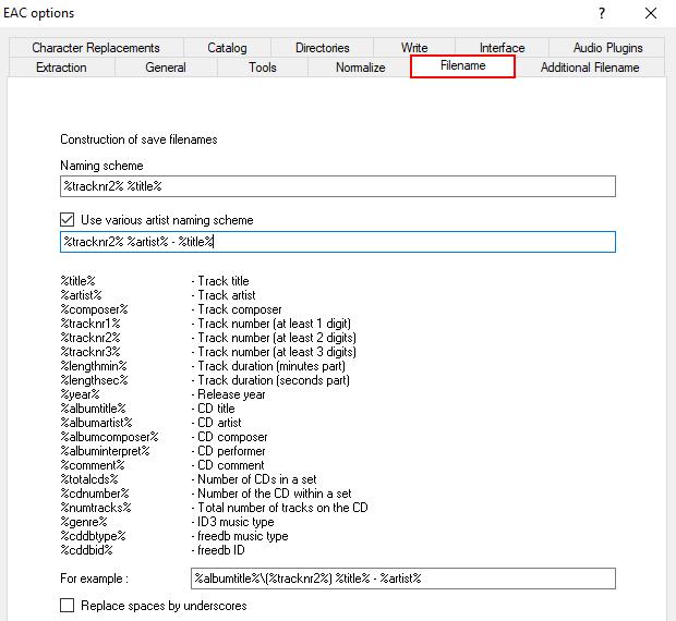 EAC filename settings