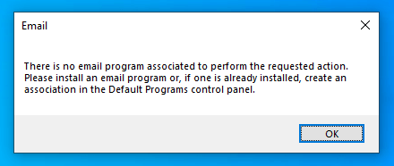 Email warning in Windows 10