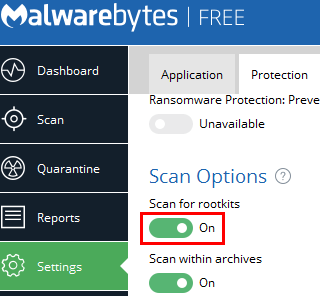 enable scan for rootkits in malwarebytes