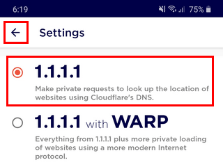 Enable the 1.1.1.1 private DNS service