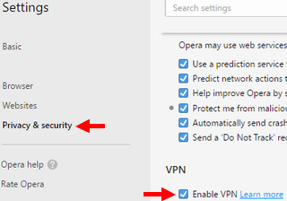 enable vpn opera web browser