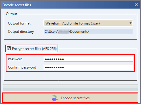 Encrypt and hide files in audio files using DeepSound