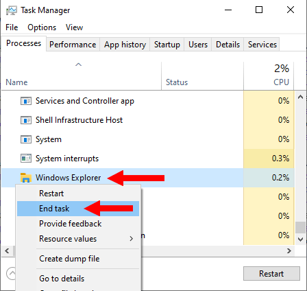 End the Windows Explorer process