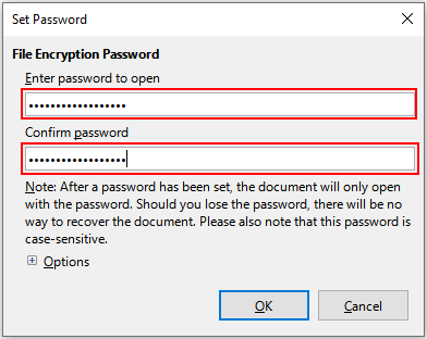 Enter a password for a document in LibreOffice