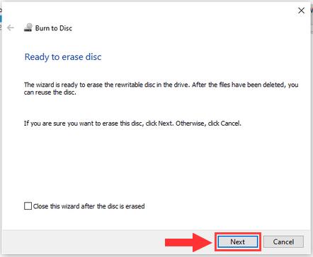 Erase a rewritable CD or DVD in Windows 10 step 4