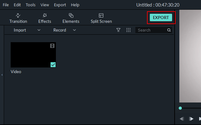 Export button in Filmora