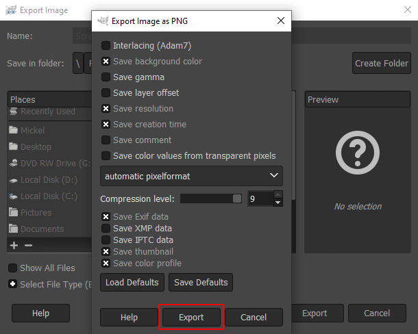 Export button in GIMP