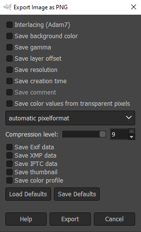 Export Image as PNG options in GIMP