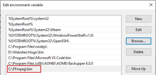 FFmpeg/bin folder in the Edit environment variable