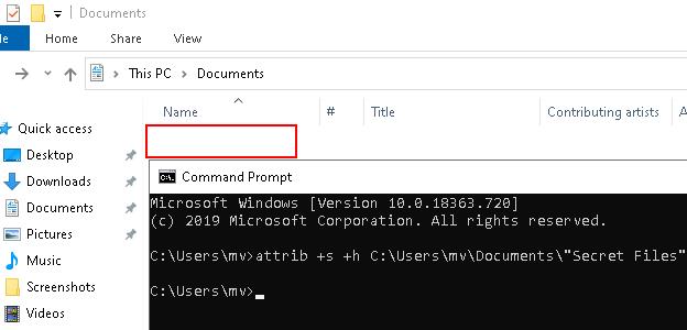 File or folder is hidden in Windows 10 using CMD