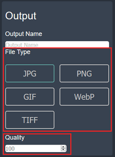 File type and quality selection options on imageresizer.online