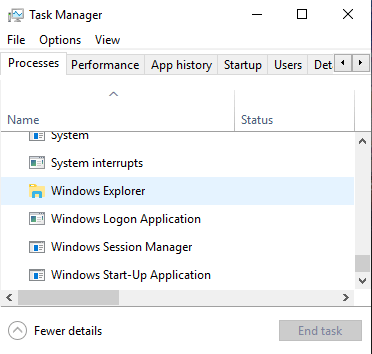 Find the Windows Explorer process in the Windows Task Manager