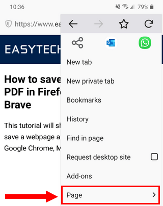 Firefox menu on Android