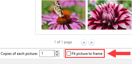Fit picture to frame option in Print Pictures wizard in Windows 10