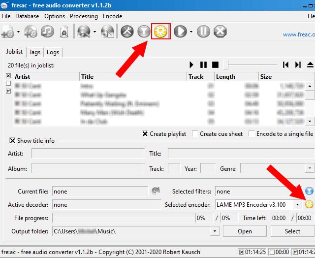 fre:ac encoder settings button