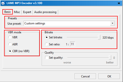 fre:ac LAME MP3 Encoder settings