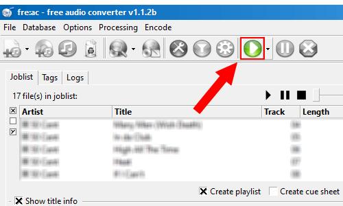 fre:ac start the encoding process button