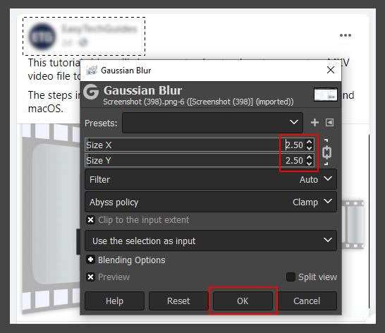 Gaussian Blur window in GIMP