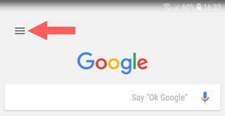 google app menu button