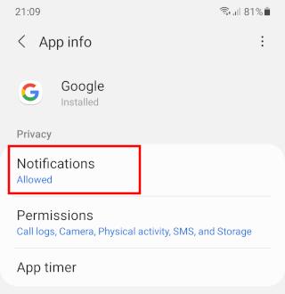 Google app notifications settings