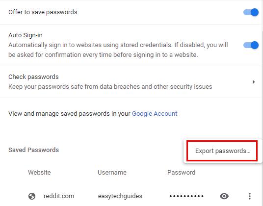 Google Chrome Export passwords option
