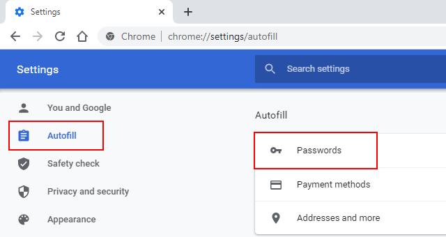 Google Chrome passwords