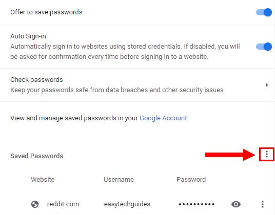 Google Chrome Saved passwords option button