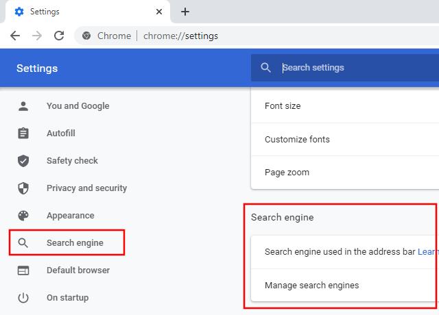 Google Chrome search engine settings