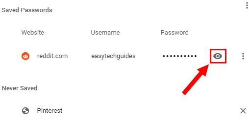 Google Chrome show password button