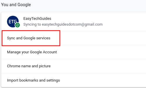 Google Chrome Sync and Google services