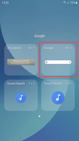 Google search bar on Samsung Galaxy
