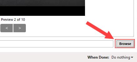HandBrake Browse button