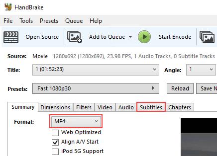 HandBrake Format selection menu and Subtitles tab