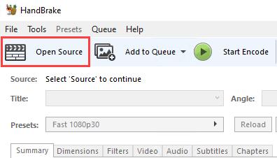 HandBrake Open Source button