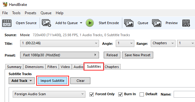 HandBrake subtitle settings