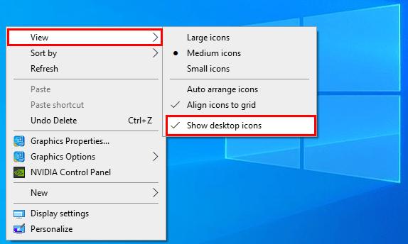 Hide all desktop icons from the desktop in Windows 10