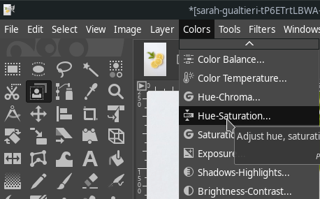Hue-Saturation in GIMP