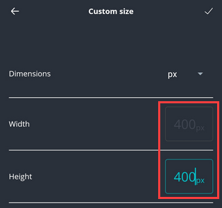 Image width and height setting in Canva app