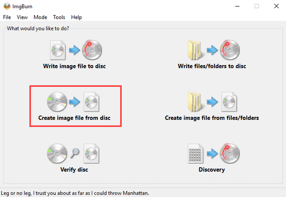ImgBurn Create image file from disc option
