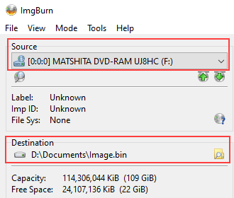 ImgBurn Source and Destination settings