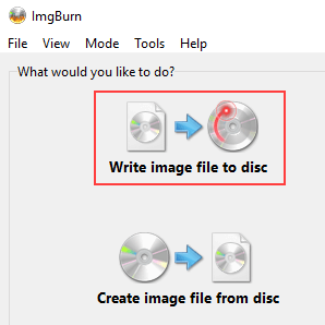 ImgBurn Write image file to disc mode