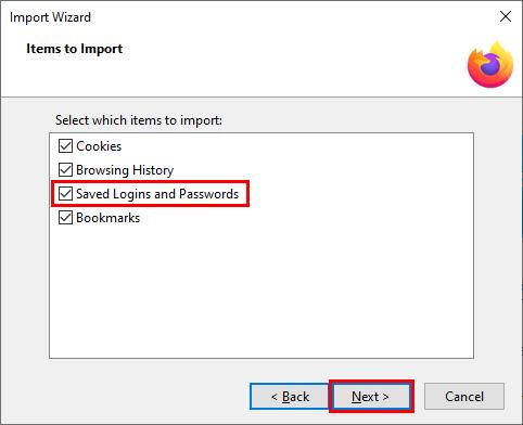 Import passwords into Firefox