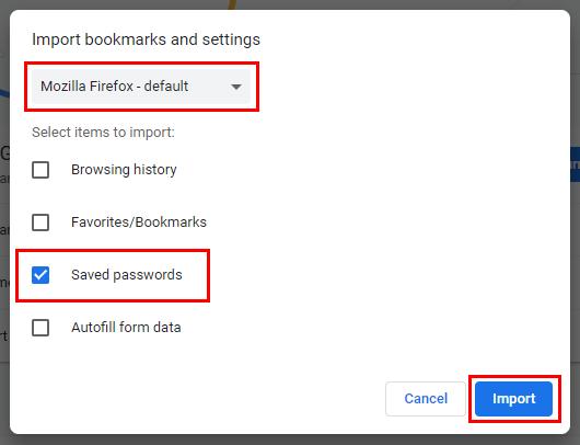 Import passwords into Google Chrome