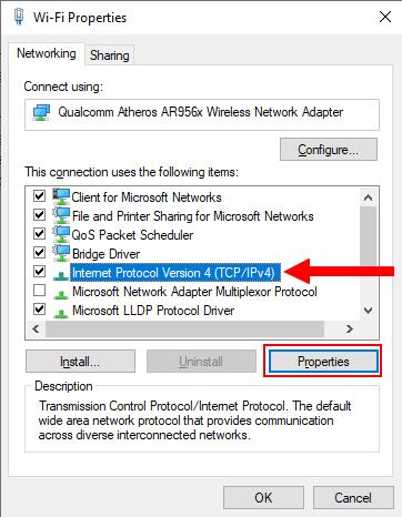 Internet Protocol Version 4 properties in Windows 10