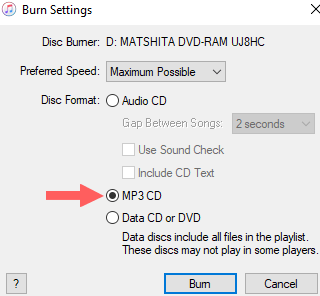 itunes burn settings window